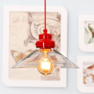 Modern Style 1 Light Cone Shade Glass LED Pendant