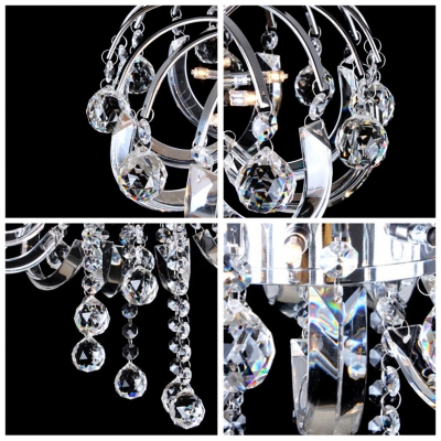 Whimsical Style Metal Scrolled Frame Clear Crystal Balls Rainfall Pedant Lighting