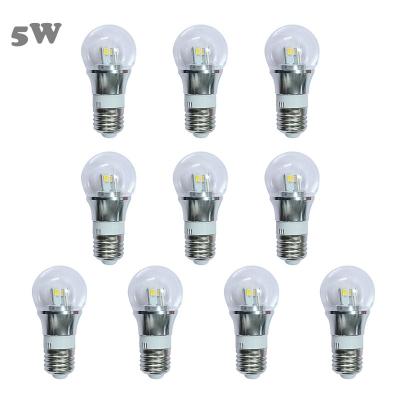 10Pcs 6000K 5W 85-265V E27 Mini LED Ball Bulb  in Silver Fiinish