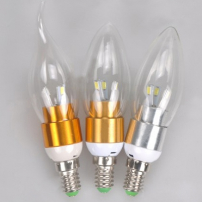 E14 360° Golden  3W 85-265V Cool White LED Candle Bulb