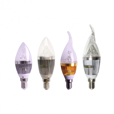 10Pcs 10Leds 5W  E14 Candle Bulb  Silver 180° Cool White