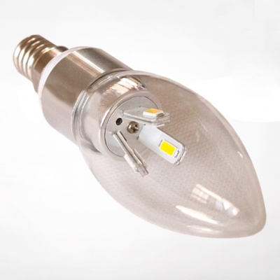 E27 360° 240lm Candle Bulb 3W Silver  Cool White