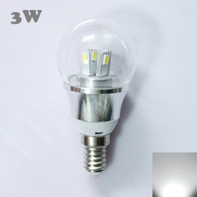 6000K 85-265V E14 3W  LED Ball Bulb  in Silver Fiinish
