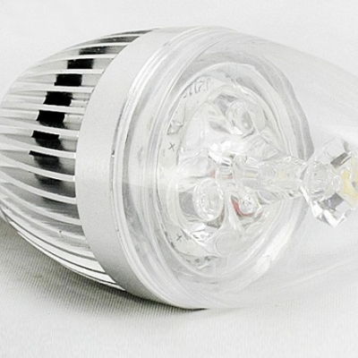 Cool White 180lm 85-265V E14 3W Silver Candle Bulb