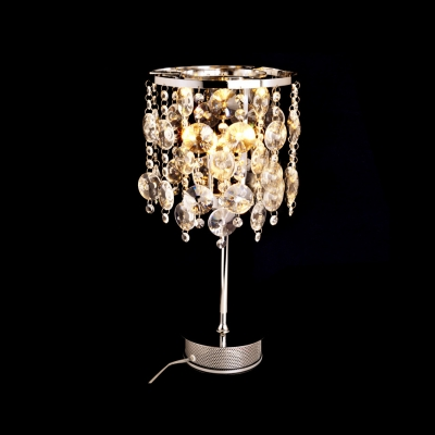 Contemporary Style Table Lamp Features Strands of  Crystal Beads and Gleaming Metal Frame