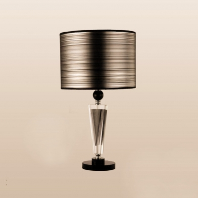 ... Sophisticated Table Lamp Set Featuring Crystal Center Topped With Black  Drum Shade ...
