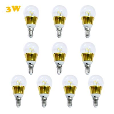 10Pcs 6000K E14 3W 85-265V Mini LED Ball Bulb  in Gold Fiinish