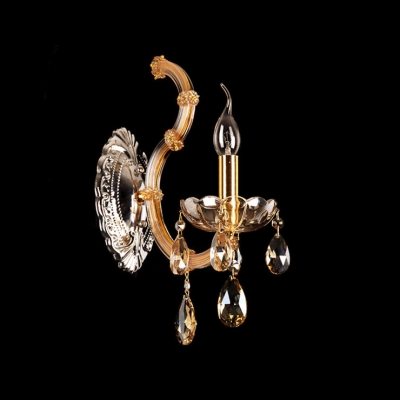 Grand Gold Finish and Delicate Canopy Add Elegance to Striking Single Light Crystal  Wall Sconce
