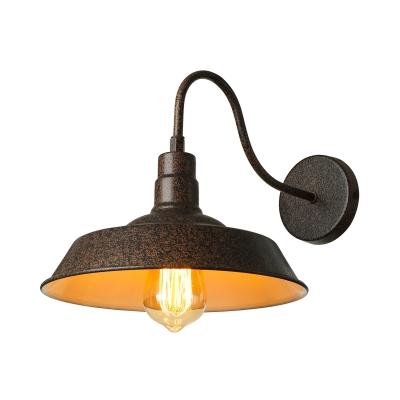 Mottled Rust Single Light Down Light Small Gooseneck Barn Wall Light