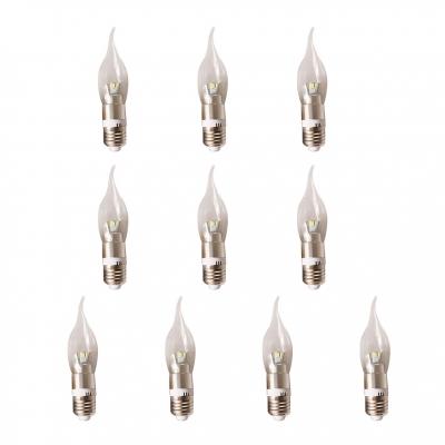 10Pcs 3W Silver E27 Candle Bulb  360° Warm White