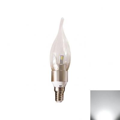 3W 6Leds E14 Candle Bulb  Silver 360° Cool White
