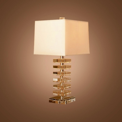 Sophisticated Table Lamp Design Combines Sparkling Crystal and White Square Lamp Shade