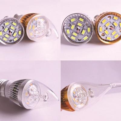 10Pcs 180° 550lm  E27 Candle Bulb 5W Silver  Cool White