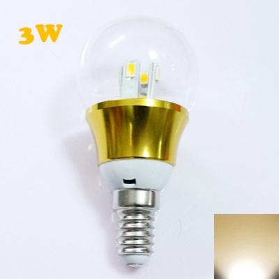 E14 3W 85-265V Mini LED Ball Bulb  in Gold Fiinish