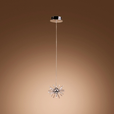 Sparkling Crystal Starburst Pendant Light in Chrome Finished and 12-Light