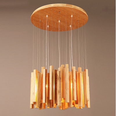 round wooden canopy and cluster of wooden sticks designer pendant
