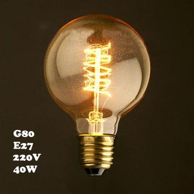 LOFT 220V E27 80*120mm 40W G80 Spiral Edison Bulb