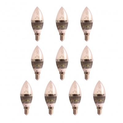 10Pcs 5W Silver 180° Cool White E14 LED Candle Bulb