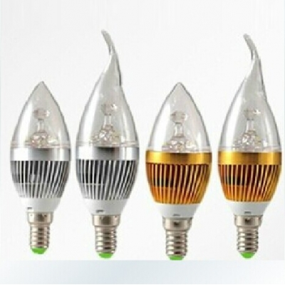 6000K 180lm 85-265V E14 3W Silver Candle Bulb