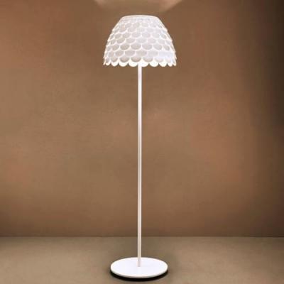 "Iron And Acrylic Soft White Finished Designer Floor Lamp 70""High"