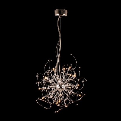 Intriguing Chrome Finished Curving Frame Pendant Light Shine with Glittering Small Crystal Balls