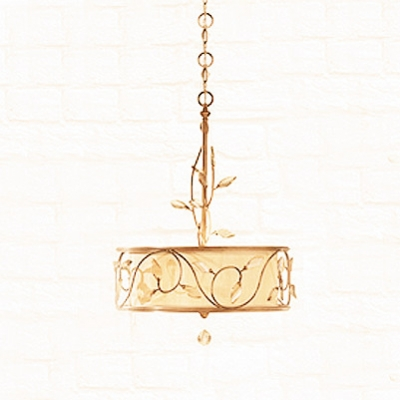 Rustic Iron Scrolls and Crystal Leaf Accented Drum Linen Shaded Large Pendant