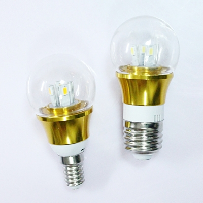 E14 3W 85-265V Mini LED Ball Bulb  in Gold Fiinish