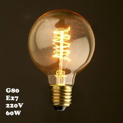 LOFT 220V E27 80*120mm 60W G80 Spiral Edison Bulb