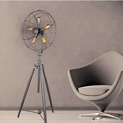 Five Light Industrial Whimsical Iron Fan Large LED Floor Lamp