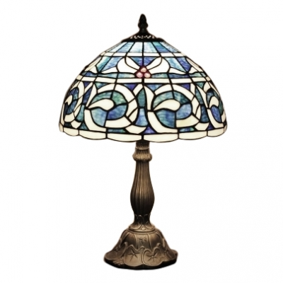 Blue Abstract Pattern Traditional 1-light Tiffany Table Lamp