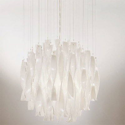 Twist Glass Pendant Light White