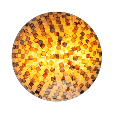 11.81 Inches Wide Small Shell Block Tiffany Flush Mount Ceiling Light