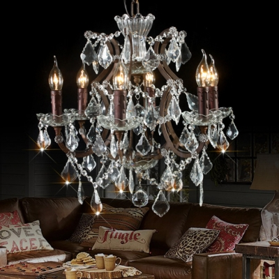 Fashion style chandeliers crystal lights beautifulhalo vintage lodge style six lights crystal chandelier aloadofball Images