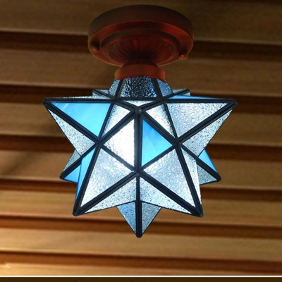 "12"" Wide Diamond Shape Tiffany Flush Mount Ceiling Light with Clear/Blue Frosted Glass Shade"