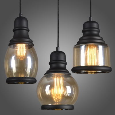 Retro Amber Glass Industrial Style LED Pendant with Black Finish