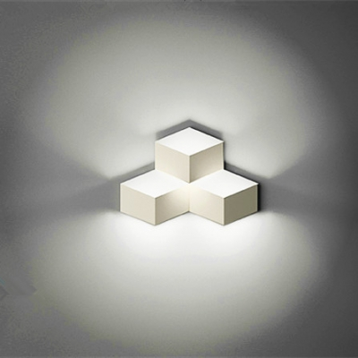 Cube Wall Lights in Designer Style Three Lights White Finished