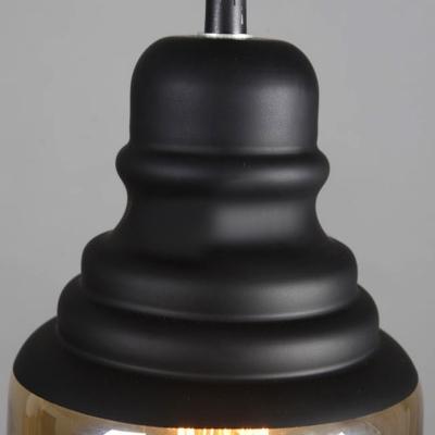 Mini Loft Amber Glass Black Finished Vintage LED Pendant