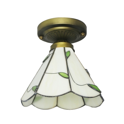 Country Style Tiffany 8 Inch Green Leaf Motif Semi Flush Mount Ceiling Light