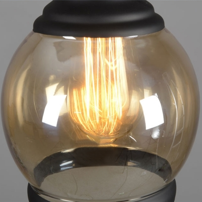 Dome Amber Glass Vintage LED Pendant with Black Fnish