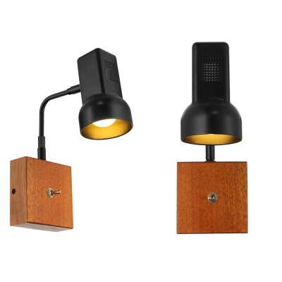 Swing Armed Vintage LED Wall Sconce with Wooden Base