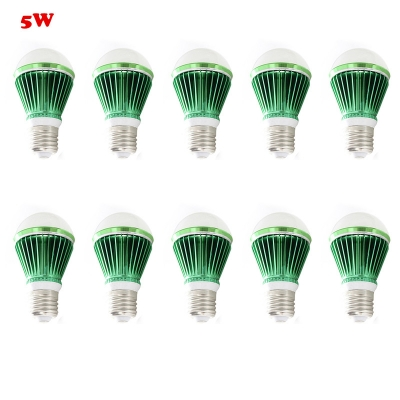 10Pcs  LED Globe Bulb Green 300lm E27 5W Cool White Light