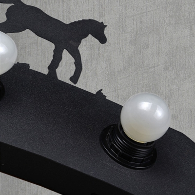 LOFT Rustic LED Wall Washer Four Lights with Horse Decoration