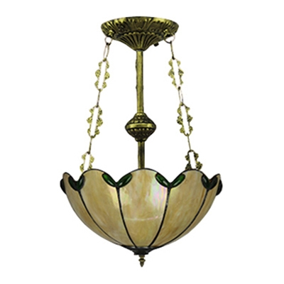 12 Inch Country Style Beige Stained Glass Tiffany 3-light Chandelier Uplight