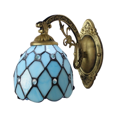 Bronze Arm Blue/Yellow Stained Glass Tiffany One-light Wall Sconce