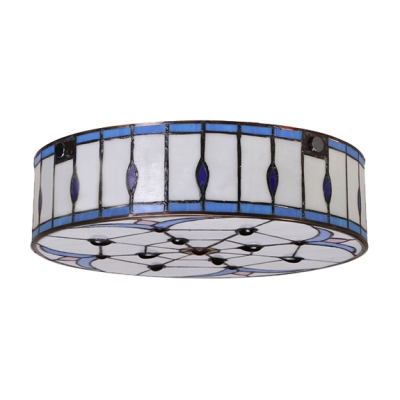 Light Blue and White 12 Inch Flush Mount Ceiling Light in Tiffany Stained Glass Style