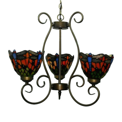 Country Style Tiffany Three Light Red Blue Stained Gl Chandelier With Dragonfly Pattern