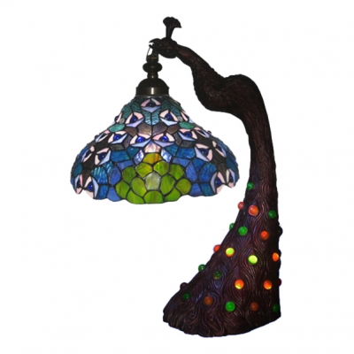 Lively Peacock Design 12 Inch Living Room Table Lamp In Tiffany