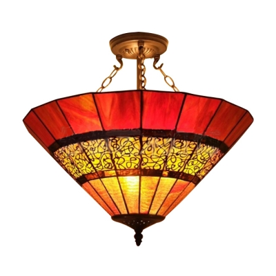 Umbrella Shade Stained Glass Tiffany Three-light Semi Flush Mount Ceiling Light