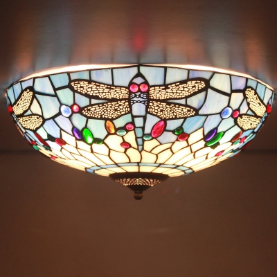 Fancy Stained Glass 16 Inch Wide Tiffany Flush Mount Ceiling Light With Dragonfly Pattern Beautifulhalo Com