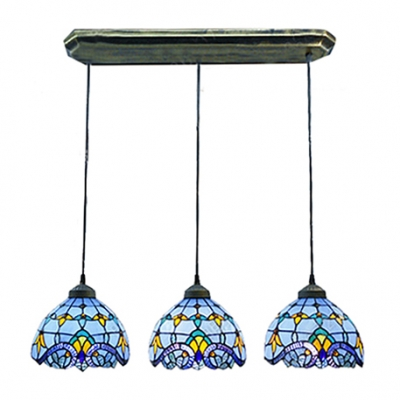 Fashion style pendant lighting blue tiffany lights blue stained glass bronze long base tiffany 3 light hanging pendant aloadofball Gallery